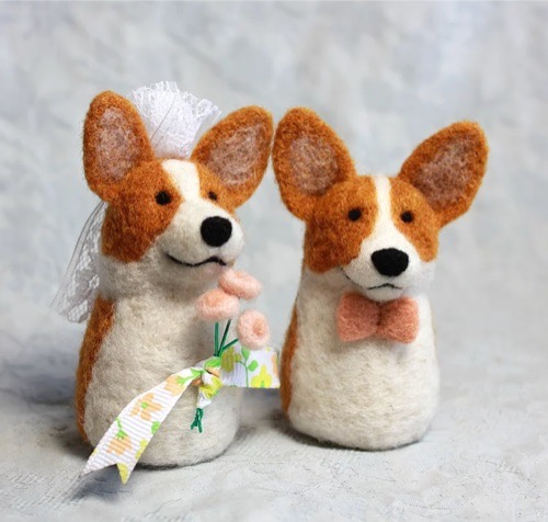 Needle felt Corgi Wedding Toppers